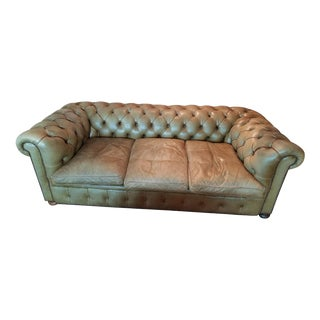Olive Leather Chesterfield Sofa