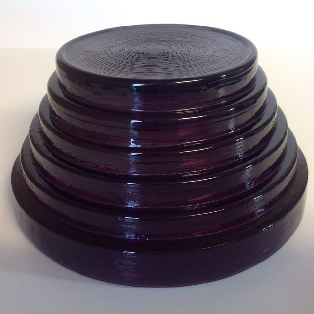 Blenko Purple Art Glass Waterfall Bowl - Image 4 of 4