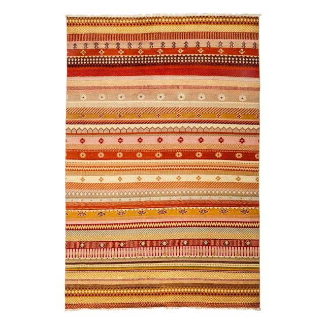 "Image of Striped Hand Knotted Area Rug - 5'1"" X 7'6"""