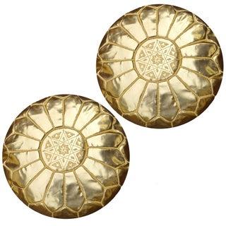 Gold Moroccan Unstuffed Ottomans - Pair
