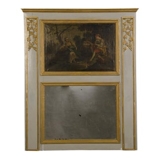 A Louis XVI period painted trumeau mirror with the original gold leafed carved motifs from France c.1790 (46″w x 57″h)