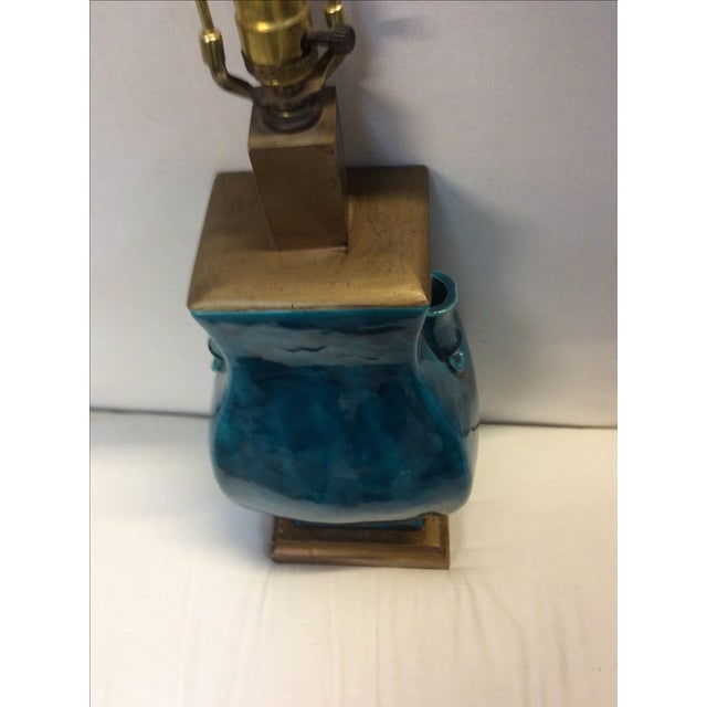 Turquoise Blue Asian Porcelain Lamp - Image 6 of 8