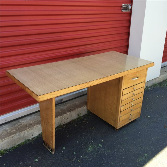 Mid-Century Modern Eight Drawer Desk - Image 8 of 11