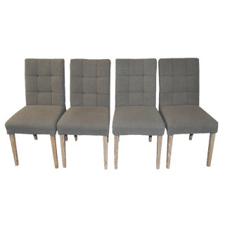 Gray Linen Dining Chairs - Set of 4
