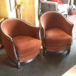 Image of Rustic Brown Velvet Barrel Chairs