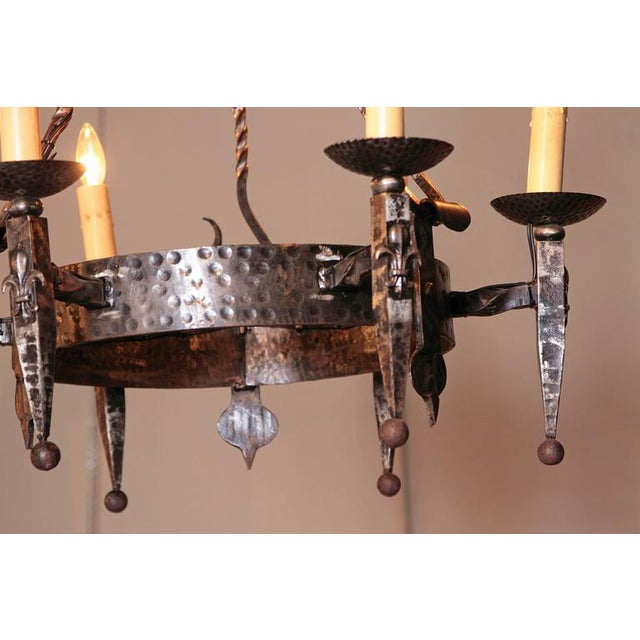 Early 20th Century French Wrought Iron Six-Light Chandelier - Image 9 of 10
