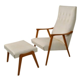 Danish Modern Lounge Chair With Foot Stool
