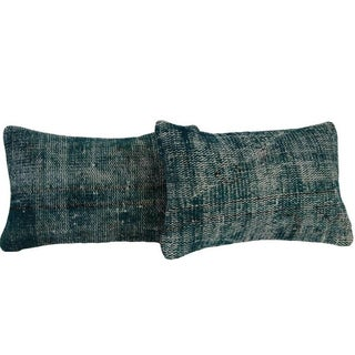 Turquoise Lumbar Over-Dyed Rug Pillows - Pair