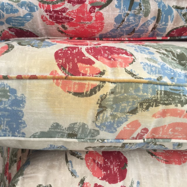 Vintage Mid-Century Modern Floral Love Seats - a Pair - Image 9 of 11