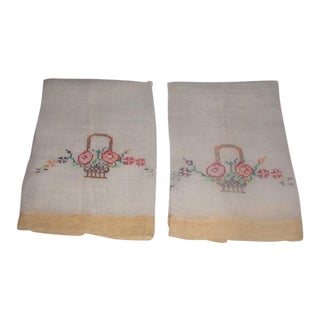 Embroidered Linen Organza Hand Towels - A Pair