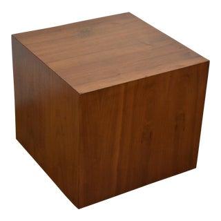 Milo Baughman Style Walnut Cube End Table