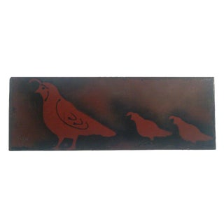 Vintage Handmade Metal Art Quail Birds Plaque