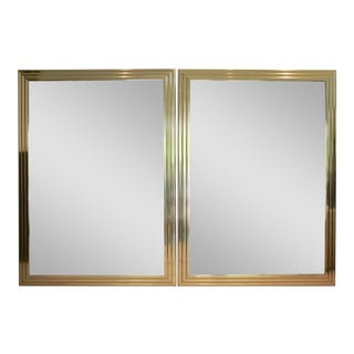 Oversized Brass Beveled Edge Mirrors - A Pair