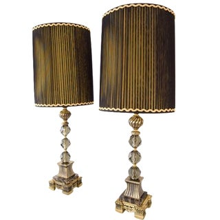Crystal Glass and Marble Table Lamps - A Pair