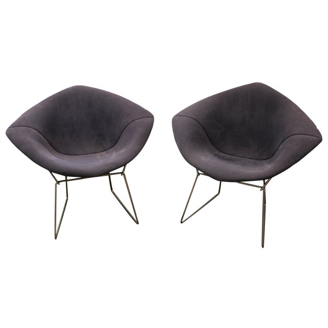 Bertoia Mid-Century Blue Diamond Chairs - Pair - Image 1 of 11