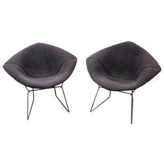 Bertoia Mid-Century Blue Diamond Chairs - Pair