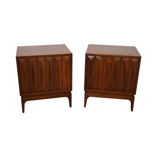 Mid Century Diamond Front Nightstands - Pair