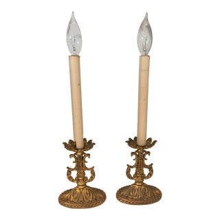 Vintage French Antique Candlestick Style Lamps - A Pair
