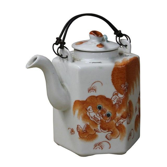 Foo Dog Porcelain Decorative Teapot - Image 2 of 6
