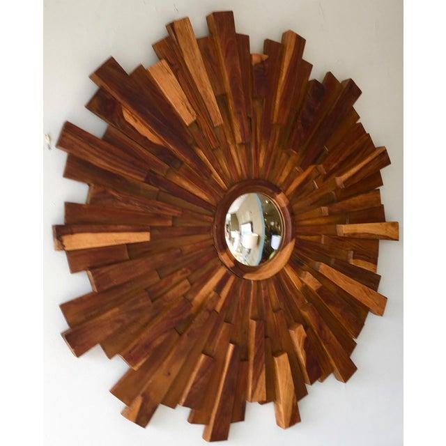 Brutalist Style Wood Sunburst Mirror - Image 3 of 5
