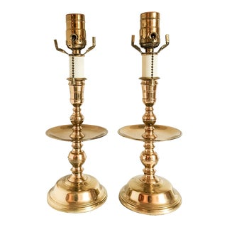 Virginia Metalcrafters Brass Candlestick Accent Lamps - A Pair
