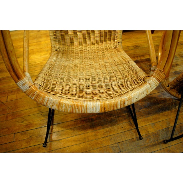 Midcentury Rattan and Wicker Rockers- A Pair - Image 9 of 11