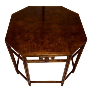 Baker Far East Collection by Michael Taylor Walnut Burl Octoganol End Table