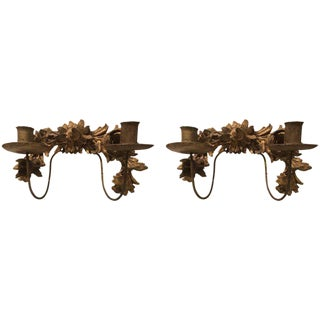 Antique Italian Gilt Wall Sconces - A Pair