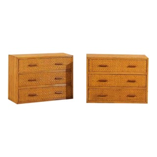 Handsome Pair of Restored Vintage Bamboo and Rattan Chests
