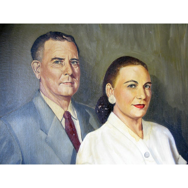 Image of Quirky Oil Painting of Couple on Canvas