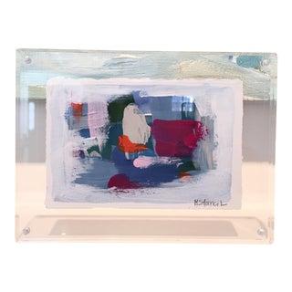"Lucite Framed ""Sundown"" Acrylic Painting"