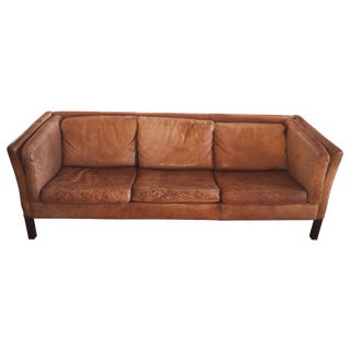 Swedish 1950s Brown Leather Sofa