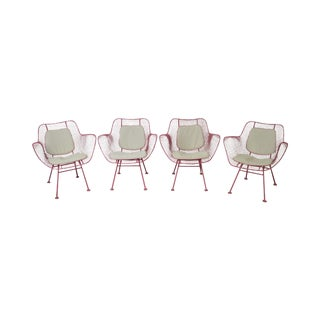 Russell Woodard Sculptura Mid Century Set of 4 Metal Patio Arm Chairs