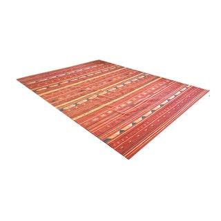 Traditional Red Rumal Rug - 8′10″ × 11′6″