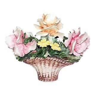 Capodimonte Floral Porcelain Basket