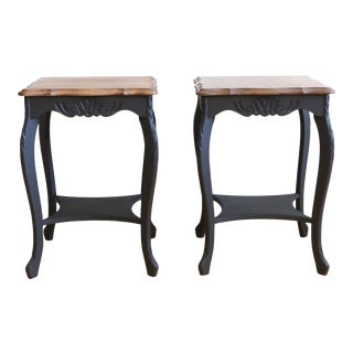 Vintage French Provincial Black Wooden Top Nightstands - A Pair