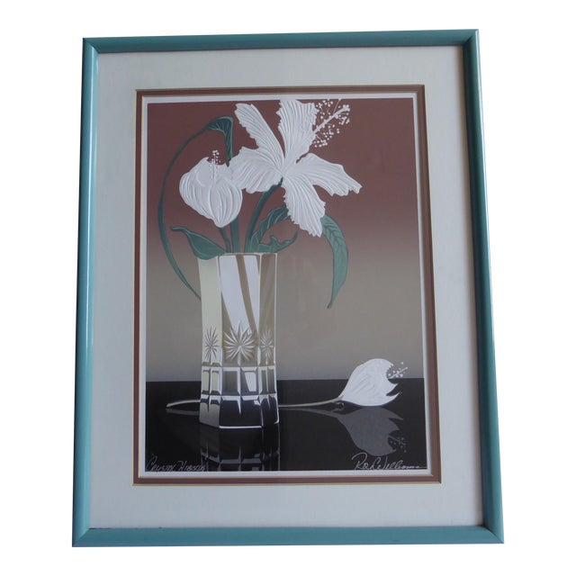 Roy Williams Crystal Hibiscus Embossed Serigraph - Image 1 of 6