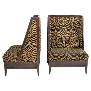 Leopard Upholstered Lounge Chairs - A Pair