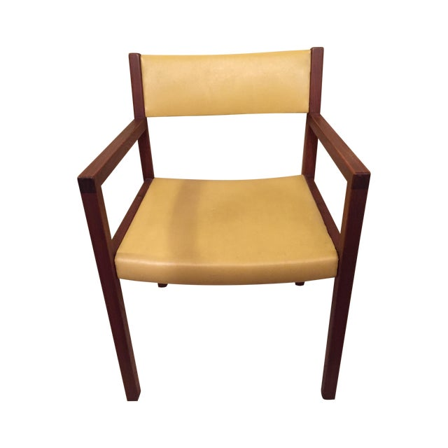 Mid-Century Danish Modern Vinyl And Walnut Chair - Image 1 of 5