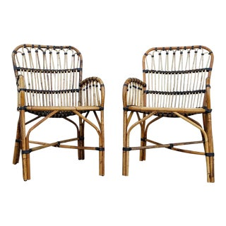 Vintage Wicker Arm Chairs - A Pair