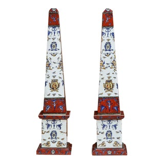 19th Century French Hand Painted Faience Obelisks - A Pair