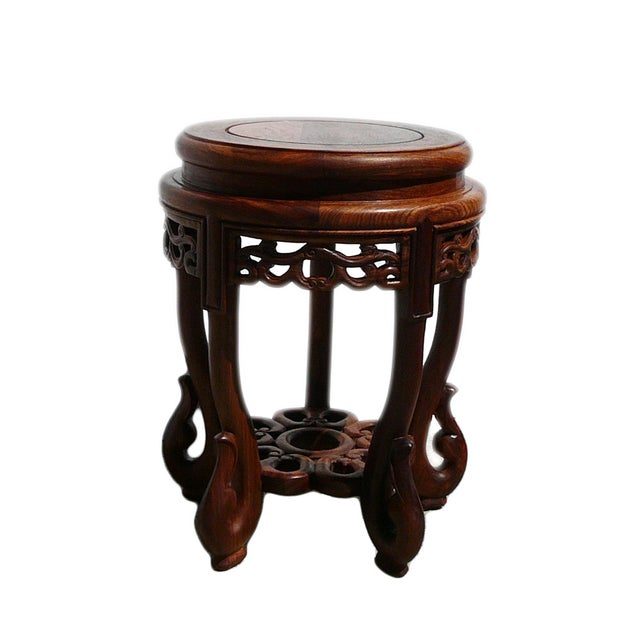 Chinese Huali Rosewood Round Scroll Leg Stool - Image 3 of 5