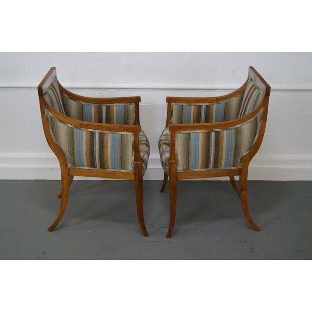 Antique Italian Walnut Klismos Arm Chairs - Pair - Image 3 of 9