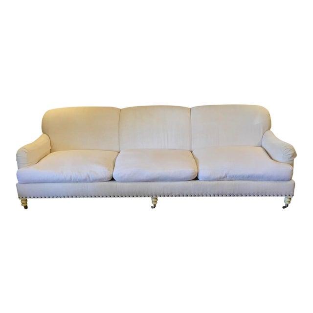 Lillian august white linen sofa chairish for White linen sectional sofa