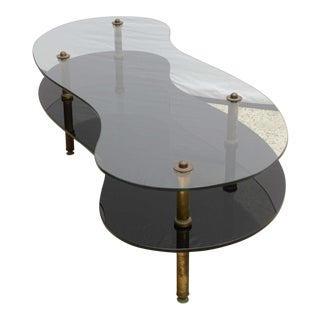 Italian Tiered Brass Glass Coffee Table, 1960s, Italy