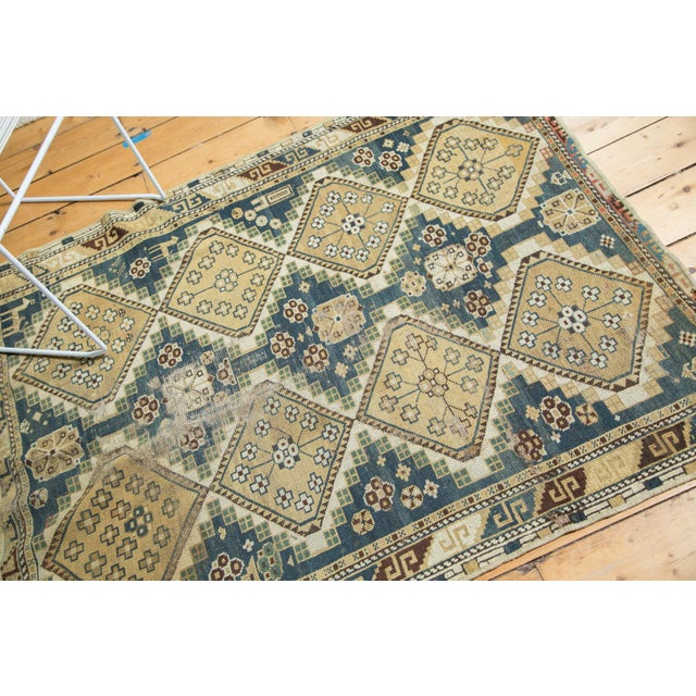 """Vintage Fragmented Caucasian Square Rug - 3'9"""" x 4'8"""" - Image 4 of 7"""