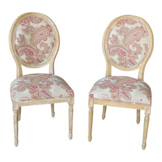 Louis XVI Style Paisley Side Chairs - a Pair