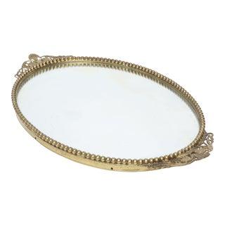 Vintage Brass filigree Vanity Tray Mirror With Flowers