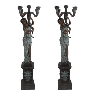 "Beautiful Pair of Bronze Lady ""torchere"" Floor Lamps"