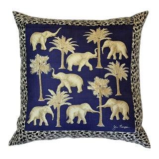Blue Jim Thompson Thai Elephant Pillow